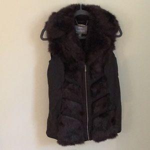 NWOT Dennis Basso faux fur and faux leather vest